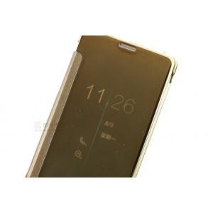Двухмодульный чехол флип полупрозрачной акриловой крышкой с зеркальным покрытием для Samsung Galaxy A7 (2016) Бежевый