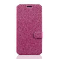 Чехол флип подставка на силиконовой основе с отделением для карт с магнитной защёлкой текстура Линии для Lenovo Vibe S1 Розовый