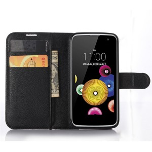 Чехол портмоне подставка с защелкой для LG K4 Черный