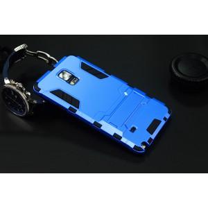Антиударный гибридный силиконовый чехол с поликарбонатной крышкой и встроенной ножкой-подставкой для Samsung Galaxy Note 4 Голубой