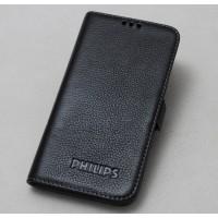 Кожаный чехол горизонтальная книжка на силиконовой основе (нат. кожа) для Philips V387 Xenium Черный