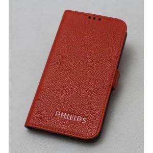 Кожаный чехол горизонтальная книжка на силиконовой основе (нат. кожа) для Philips V387 Xenium Оранжевый