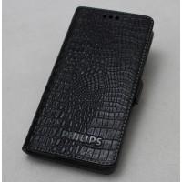 Кожаный чехол горизонтальная книжка (нат. кожа крокодила) подставка для Philips V387 Xenium Черный