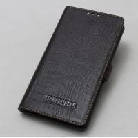 Кожаный чехол горизонтальная книжка (нат. кожа крокодила) на силиконовой основе для Philips i908 Коричневый