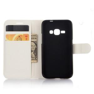 Чехол портмоне подставка с защелкой для Samsung Galaxy J1 (2016) Белый
