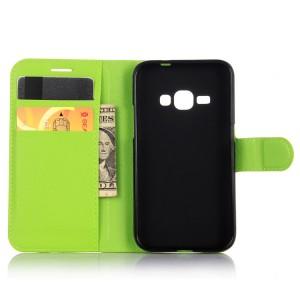Чехол портмоне подставка с защелкой для Samsung Galaxy J1 (2016) Зеленый