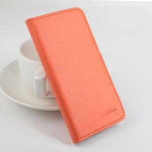Чехол горизонтальная книжка подставка с отделениями для карт на клеевой основе для Oukitel K6000 Оранжевый