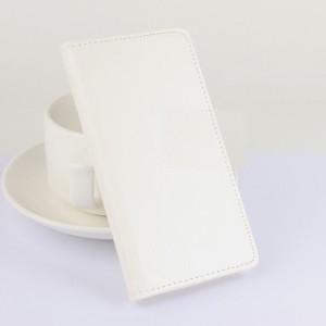 Глянцевый чехол флип подставка с отделениями для карт на клеевой основе для Oukitel K6000 Белый