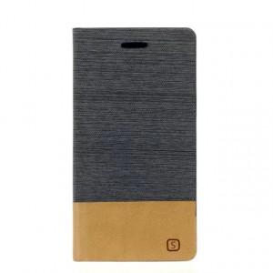 Чехол флип подставка на силиконовой основе с отделением для карты и тканевым покрытием для Samsung Galaxy J1 (2016)