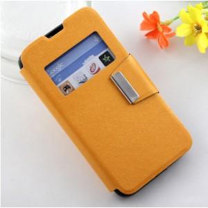 Чехол флип подставка на силиконовой основе с окном вызова и магнитной защелкой для Micromax Bolt Q335 Оранжевый