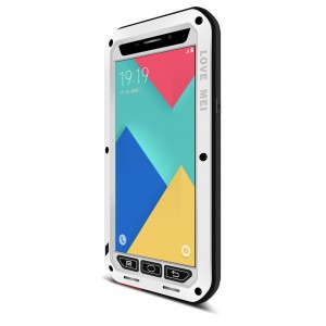 Антиударный пылевлагозащищенный премиум чехол металл/силикон/поликарбонат для Samsung Galaxy A9