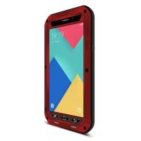 Антиударный пылевлагозащищенный премиум чехол металл/силикон/поликарбонат для Samsung Galaxy A9 Красный