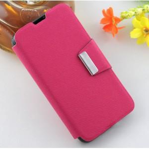 Текстурный чехол флип подставка на силиконовой основе с дизайнерской застежкой для Micromax Bolt Q335 Пурпурный