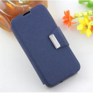 Текстурный чехол флип подставка на силиконовой основе с дизайнерской застежкой для Micromax Bolt Q335 Синий