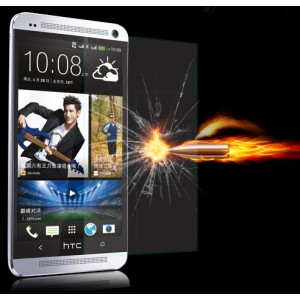 Ультратонкое износоустойчивое сколостойкое олеофобное защитное стекло-пленка для HTC One (M7) Dual SIM