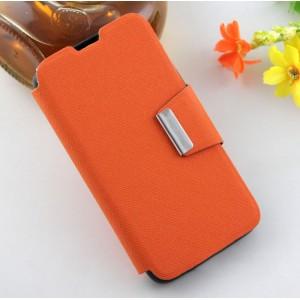 Текстурный чехол флип подставка на силиконовой основе с дизайнерской застежкой для Micromax Bolt Q335 Оранжевый
