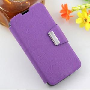 Текстурный чехол флип подставка на силиконовой основе с дизайнерской застежкой для Micromax Bolt Q335 Фиолетовый