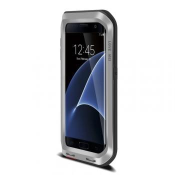 Антиударный пылевлагозащищенный премиум чехол металл/поликарбонат/силикон для Samsung Galaxy S7 Edge