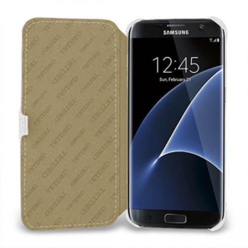 Кожаный чехол горизонтальная книжка (нат. кожа) с крепежной застежкой для Samsung Galaxy S7 Edge