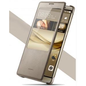 Оригинальный кожаный чехол смарт флип на пластиковой основе с окном вызова для Huawei Mate 8 Коричневый