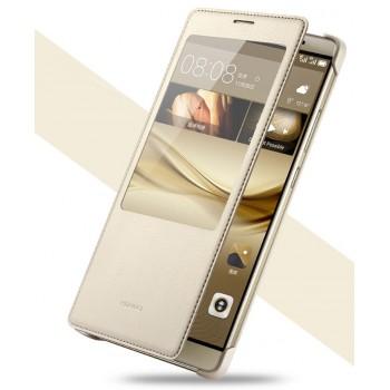 Оригинальный кожаный чехол смарт флип на пластиковой основе с окном вызова для Huawei Mate 8
