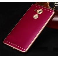 Двухкомпонентный чехол с металлическим бампером и кожаной вощеной накладкой для Huawei Mate 8 Пурпурный