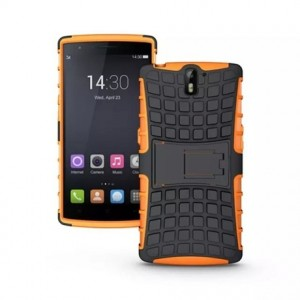 Антиударный гибридный силиконовый чехол с поликарбонатной крышкой для OnePlus One Оранжевый