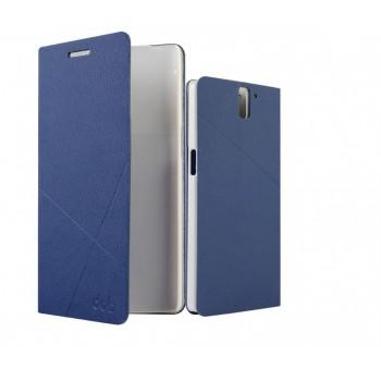 Чехол флип подставка на пластиковой основе с отделением для карт текстура Линии для OnePlus One