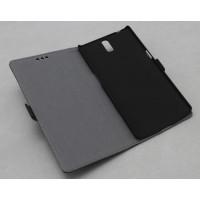 Кожаный чехол горизонтальная книжка (нат. кожа) подставка для OnePlus One Черный