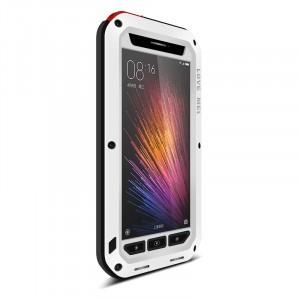 Эксклюзивный антиударный пылевлагозащищенный чехол металл/силикон/поликарбонат/закаленное стекло для Xiaomi MI5 Белый
