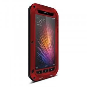Эксклюзивный антиударный пылевлагозащищенный чехол металл/силикон/поликарбонат/закаленное стекло для Xiaomi MI5 Красный