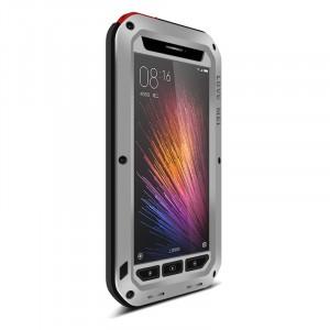 Эксклюзивный антиударный пылевлагозащищенный чехол металл/силикон/поликарбонат/закаленное стекло для Xiaomi MI5 Серый