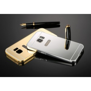 Двухкомпонентный чехол с металлическим бампером и поликарбонатной накладкой с зеркальным покрытием для Samsung Galaxy S7 Белый