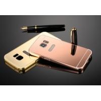 Двухкомпонентный чехол с металлическим бампером и поликарбонатной накладкой с зеркальным покрытием для Samsung Galaxy S7 Розовый
