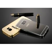 Двухкомпонентный чехол с металлическим бампером и поликарбонатной накладкой с зеркальным покрытием для Samsung Galaxy S7 Черный