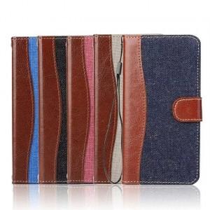 Чехол портмоне подставка с джинсовой текстурой, магнитной защелкой и пластиковой основой для LG G5