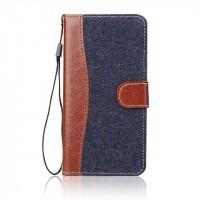 Чехол портмоне подставка с джинсовой текстурой, магнитной защелкой и пластиковой основой для LG G5 Синий