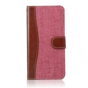 Чехол портмоне подставка с джинсовой текстурой, магнитной защелкой и пластиковой основой для LG G5 Розовый