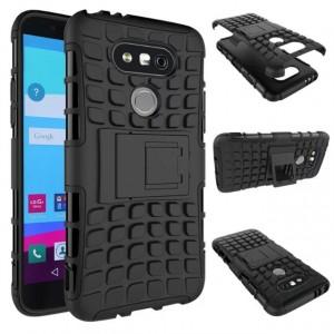 Антиударный гибридный чехол экстрим защита силикон/поликарбонат для LG G5 Черный