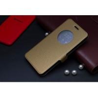 Чехол флип с активным окном и застежкой для ASUS Zenfone 5 Коричневый