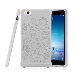 Силиконовый дизайнерский противоударный чехол текстура Дракон для Xiaomi MI5 Белый