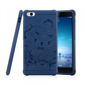 Силиконовый дизайнерский противоударный чехол текстура Дракон для Xiaomi MI5 Синий