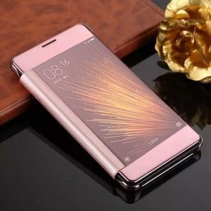 Двухмодульный пластиковый чехол флип с полупрозрачной крышкой с зеркальным покрытием для Xiaomi MI5 Розовый