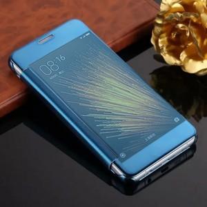 Двухмодульный пластиковый чехол флип с полупрозрачной крышкой с зеркальным покрытием для Xiaomi MI5 Голубой