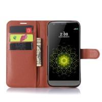 Чехол портмоне подставка на силиконовой основе с магнитной защелкой для LG G5 Коричневый