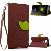 Чехол портмоне подставка на силиконовой основе с дизайнерской магнитной защелкой для LG G5 Коричневый