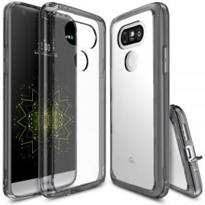 Силиконовый транспарентный премиум чехол максимальной противоударной защиты с клапанами разъемов для LG G5 Черный
