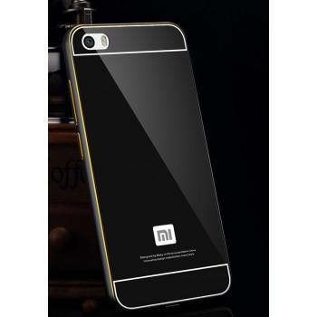 Двухкомпонентный чехол с металлическим бампером с золотой окантовкой и поликарбонатной накладкой для Xiaomi MI5
