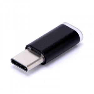 Ультракомпактный переходник Micro USB/USB type C (симметричный) текстура Металлик Черный