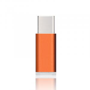 Ультракомпактный переходник USB type C - Micro USB текстура Металлик Оранжевый
